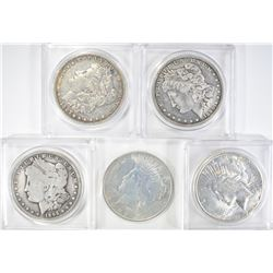 5 CIRCULATED SILVER DOLLARS