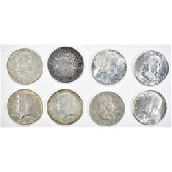 MIXED SILVER HALF DOLLAR LOT SOME BU