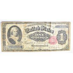 1891 $1 SILVER CERTIFICATE, MARTHA WASHINGTON