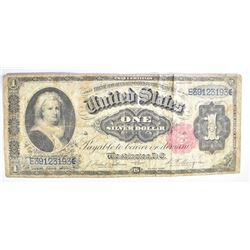 1891 $1 SILVER CERTIFICATE, MARTHA WASHINGTON
