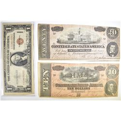 2 CONFEDERATE NOTES AND 1 WWII HAWAII NOTE