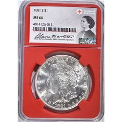 1881-S MORGAN DOLLAR NGC MS 64