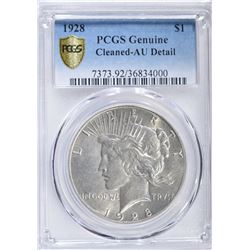 1928 PEACE DOLLAR  PCGS AU DETAIL - CLEANED
