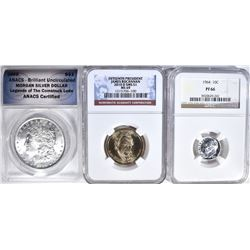 LOT:  1885 MORGAN DOLLAR ANACS BU,