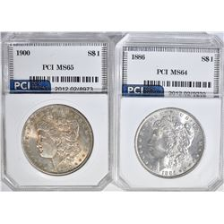 2 - PCI MORGAN DOLLARS:  1900 CH BU &