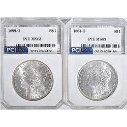 2 - PCI MORGAN DOLLARS:  1899-O CH BU &