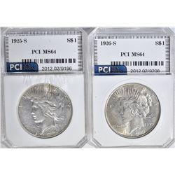 2 - PCI PEACE DOLLARS: 1925-S XF &