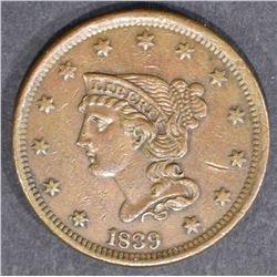 1839 LARGE CENT BRAIDED HAIR  XF/AU