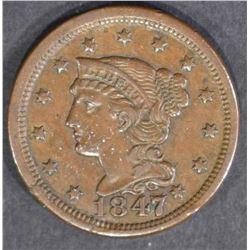 1847/7 LARGE CENT  XF/AU