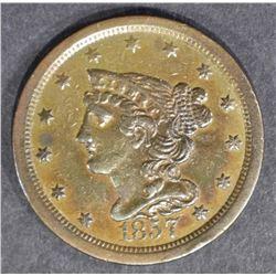 1857 HALF CENT  BROWN  AU/UNC