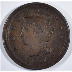 1851 LARGE CENT  GEM BROWN UNC