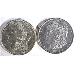 1881-O & 1921 MORGAN DOLLARS CH BU