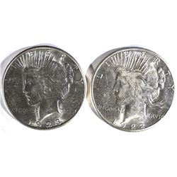 1922-S, & 23-S PEACE DOLLARS BU