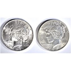 1922 BU & 1934 AU PEACE DOLLARS