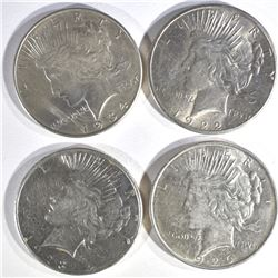 4 PEACE DOLLARS AU-BU