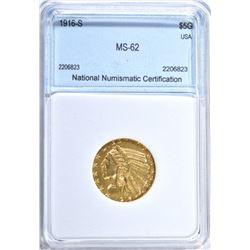 1916-S $5.00 GOLD INDIAN, NNC BU