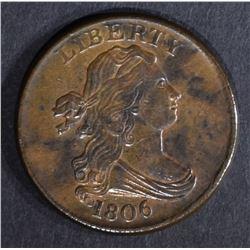 1806 DRAPED BUST HALF CENT, AU