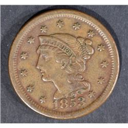 1853 LARGE CENT, XF