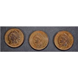 1893, 1901 & 1906 CH BU INDIAN CENTS