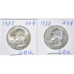 1937 BU & 1938 AU/ BU WASHINGTON QUARTERS