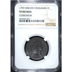 1793 WREATH CENT NGC VF DETAILS
