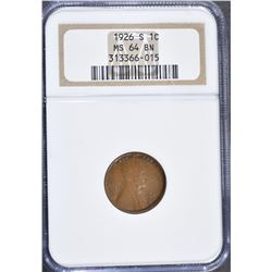 1926-S LINCOLN CENT, NGC MS-64 BROWN RARE!!