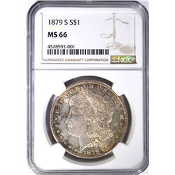 1879-S MORGAN DOLLAR, NGC MS-66 PRETTY TONING
