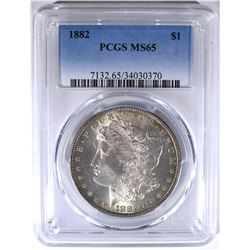 1882 MORGAN DOLLAR PCGS MS65
