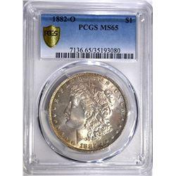 1882-O MORGAN DOLLAR, PCGS MS-65
