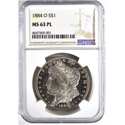 1884-O MORGAN DOLLAR, NGC MS-63 PL