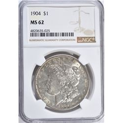 1904 MORGAN DOLLAR, NGC MS-62  BETTER DATE