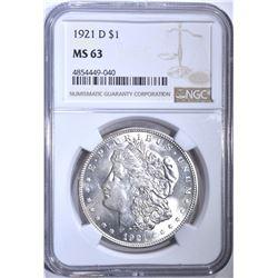 1921-D MORGAN DOLLAR, NGC MS-63