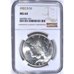 1922-D PEACE DOLLAR, NGC MS-64