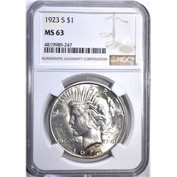 1923-S PEACE DOLLAR, NGC MS-63