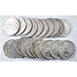 20-CIRC MIXED DATE WALKING LIBERTY HALF DOLLARS
