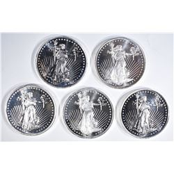 """5-""""STANDING LIBERTY"""" ONE OUNCE .999 SILVER ROUNDS"""