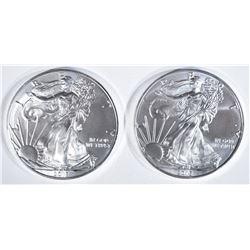 2-GEM BU 2018 AMERICAN SILVER EAGLES