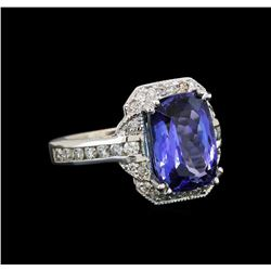 14KT White Gold 5.42 ctw Tanzanite and Diamond Ring