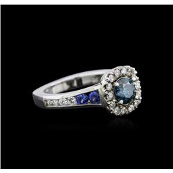 1.23 ctw Fancy Blue Diamond and Sapphire Ring - 14KT White Gold
