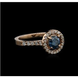 1.12 ctw Blue Diamond Ring - 14KT Rose Gold
