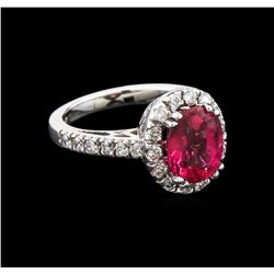 2.83 ctw Pink Tourmaline and Diamond Ring - 14KT White Gold