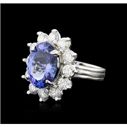 14KT White Gold 6.57 ctw Tanzanite and Diamond Ring