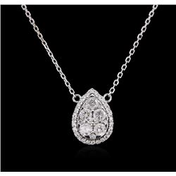 14KT White Gold 0.85 ctw Diamond Necklace