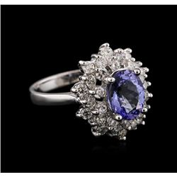 14KT White Gold 2.03 ctw Tanzanite and Diamond Ring