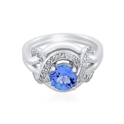 14KT White Gold 1.12 ctw Tanzanite and Diamond Ring