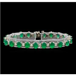 14KT White Gold 15.83 ctw Emerald and Diamond Bracelet
