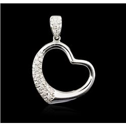18KT White Gold 0.43 ctw Diamond Heart Pendant
