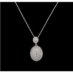 14KT White Gold 0.75 ctw Diamond Pendant With Chain