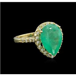 5.00 ctw Emerald and Diamond Ring - 14KT Yellow Gold
