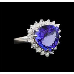 14KT White Gold 6.78 ctw Tanzanite and Diamond Ring